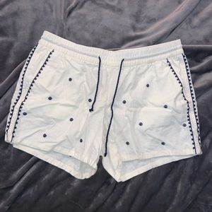 White Shorts with Navy Detail